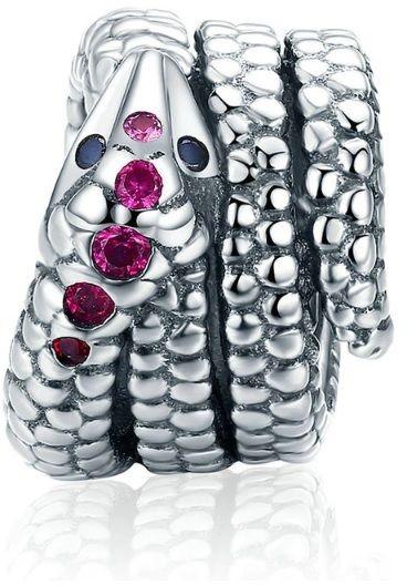 Rodowany srebrny charms do pandora wąż snake cyrkonie srebro 925 BEAD165S