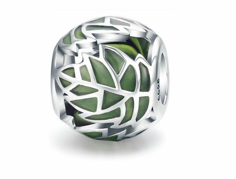Rodowany srebrny charms do pandora listki liście leafs srebro 925 NEW107
