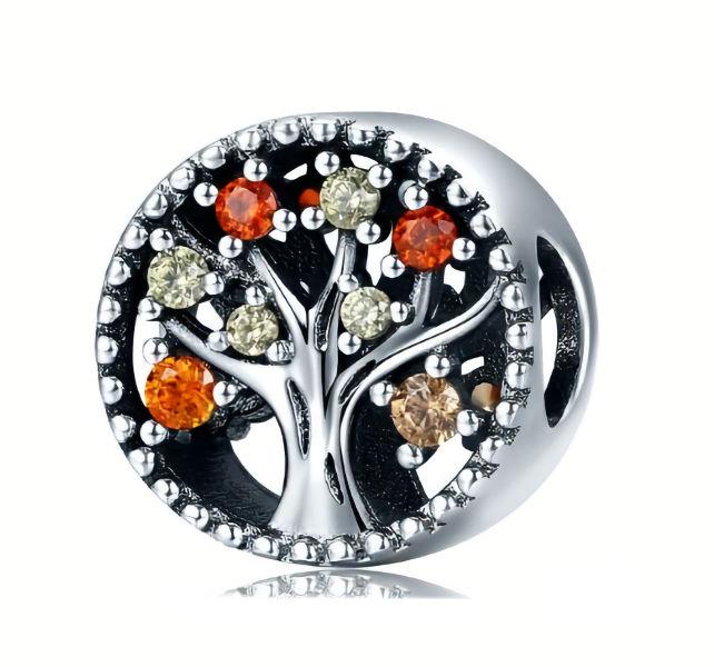 Rodowany srebrny charms do pandora drzewo życia cyrkonie srebro 925 BEAD112